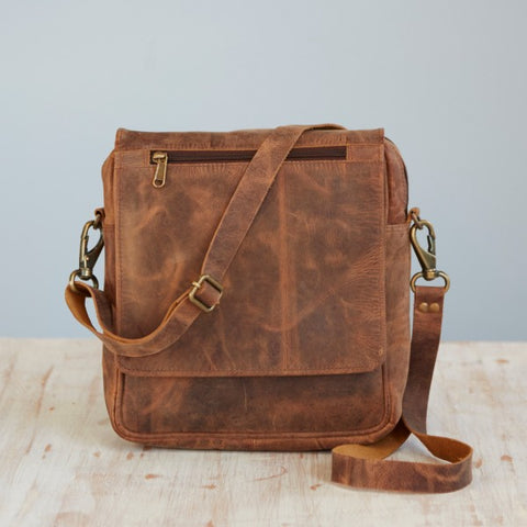 Paper High - Buffalo Leather Portrait Messenger Bag