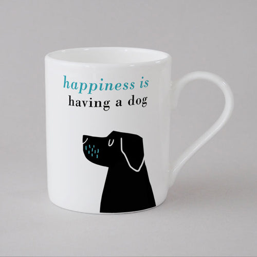 Happiness Black Lab Mug Small - Turquoise