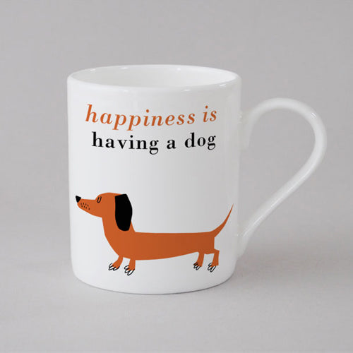 Happiness Sausage Dog Mug Small - Orange