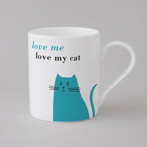 Happiness Sitting Cat Mug Small - Turquoise