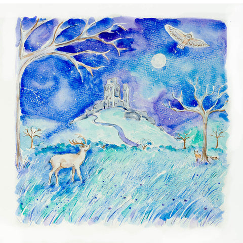 Janine Drayson - Over the Moon, Corfe Castle (Original)