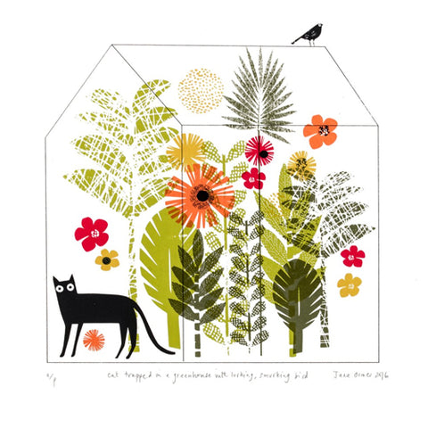 Jane Ormes -  Cat Trapped in a Greenhouse with Lurking , Smirking Bird...