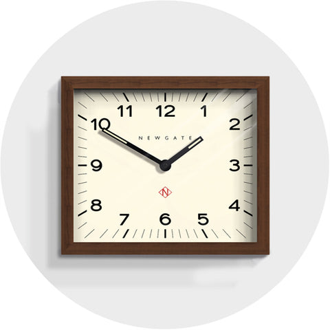 Newgate Clock - Mr Davies Mid-Century Rectangular Wall Clock | Dark Wood