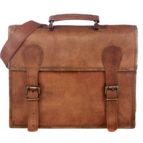 Paper High - Large Old School Brown Leather Satchel