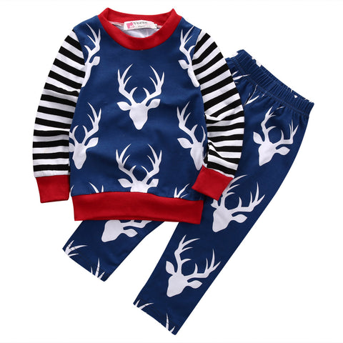 Blue & White Deer Print Baby 2pc set - The Pickle and Potato