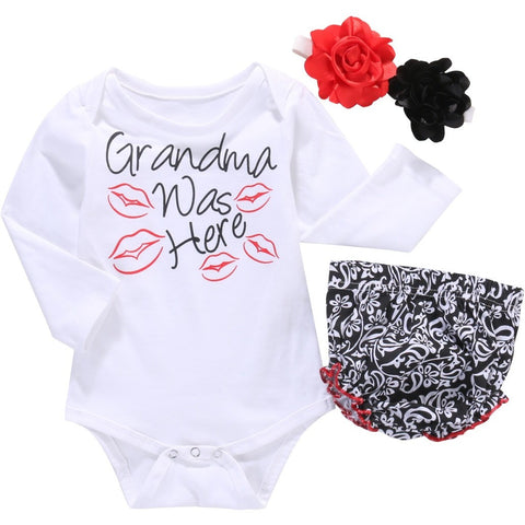 Grandma Was Here Printed Baby Romper - The Pickle and Potato