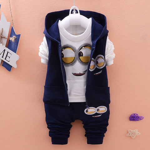 Autumn Baby Minion Clothes Set w/ Kids Vest+T Shirt+Pants