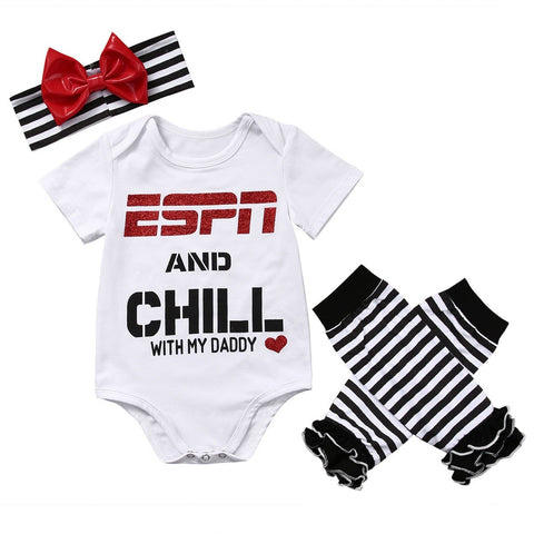 Chill With My Daddy Printed Baby Romper w/Leggings and Headband 3pc set - The Pickle and Potato