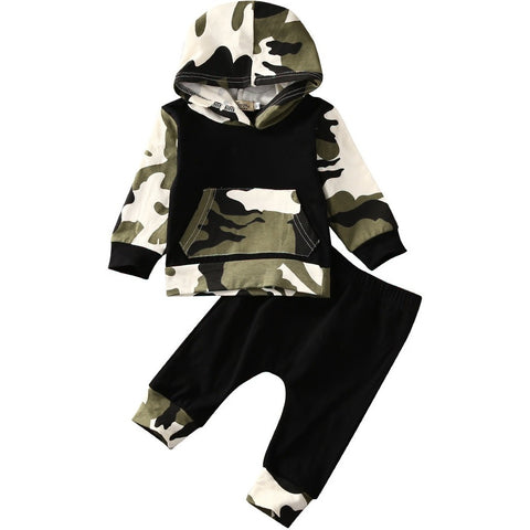 Baby Camo Hoodie + Long Pants 2pcs Set