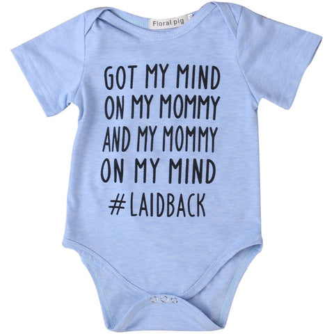 Got My Mind On My Mommy and Mommy On My Mind Printed Infant Bodysuit Baby Romper - The Pickle and Potato