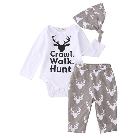Crawl, Walk, Hunt 3pcs Clothing Set