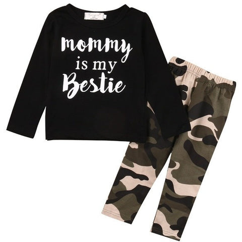Mommy Is My Bestie Printed Baby Tshirt and Camo Pants 2pc set