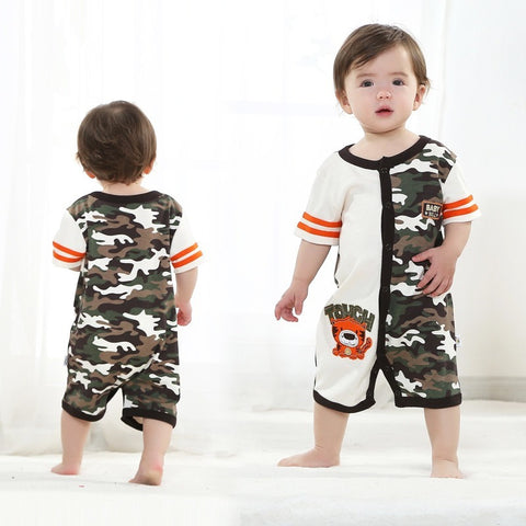This Camo is Grrrrreat! Tiger Printed Camo Baby Summer Romper - The Pickle and Potato