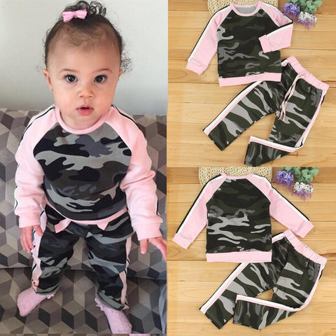 Baby Girls Camo Top + Pants