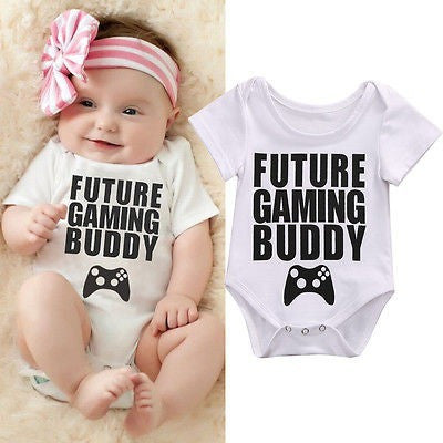 """Future Gaming Buddy"" Printed Baby Romper"