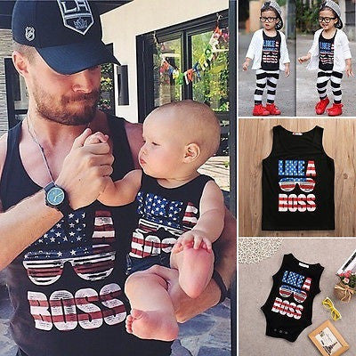 """Like A Boss"" Dad tshirt and Baby Summer Romper"