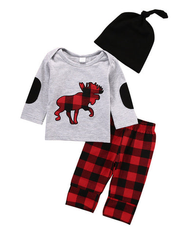 Moose Plaid 3pc Clothing set - The Pickle and Potato