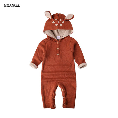 Autumn Knitted Long-Sleeve Reindeer Baby Jumpsuit