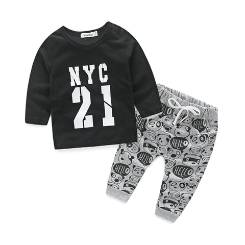 Baby Boy Fall shirt + pants 2pc set - The Pickle and Potato