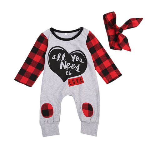 All You Need Is Love Baby Long Sleeve Jumpsuit+Headband
