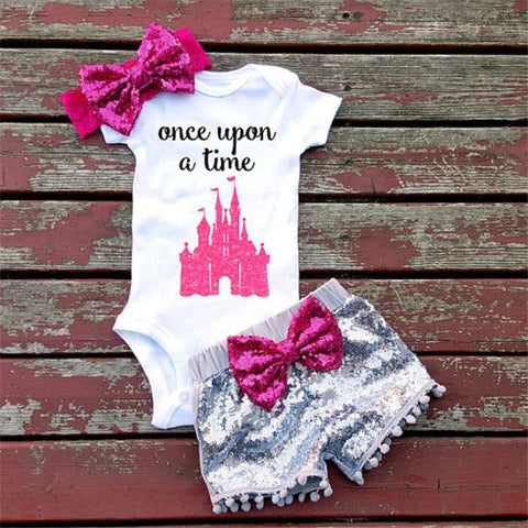 Princess Baby Girls Once upon a time Romper Set