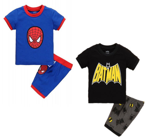 Summer Cartoon Spider/Batman Pattern Printed T-shirt+Shorts - The Pickle and Potato