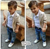 Baby Boy High Fashion Jacket with Shirt and Denim Pants set
