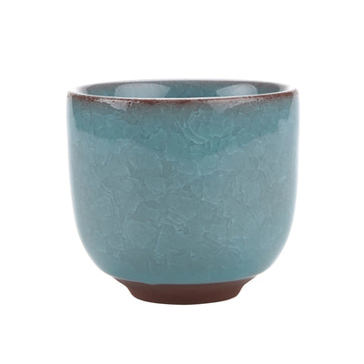 Ceramic Ice Crack Zisha Raised - Succulent Pot with Bamboo Trays 6.pcs