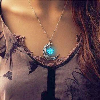 Glow In The Dark Moon Heart Necklace