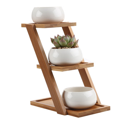 bamboo Plant Stand succulent planter Shelf Holds 3-Flower Pot Planters bonsai Holder Planters Stand