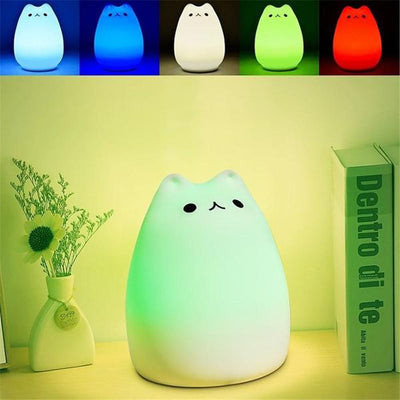 Cat Night Light - 7 Colors LED, USB Rechargeable