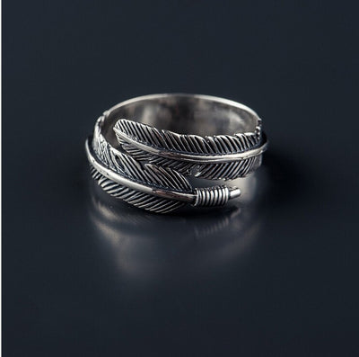 Sterling Silver Feather Open Ring