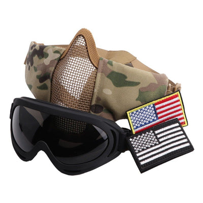 Half Metal Steel Mesh Face Mask And UV400 Goggles+Arm Tags