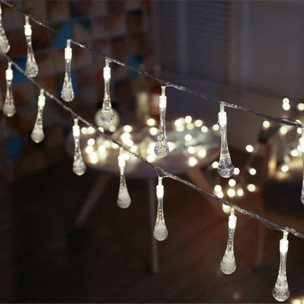 best sneakers 84984 36bbb Solar-Powered Raindrop String Lights