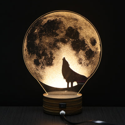 Moon Howling Wolf - LED Night Light