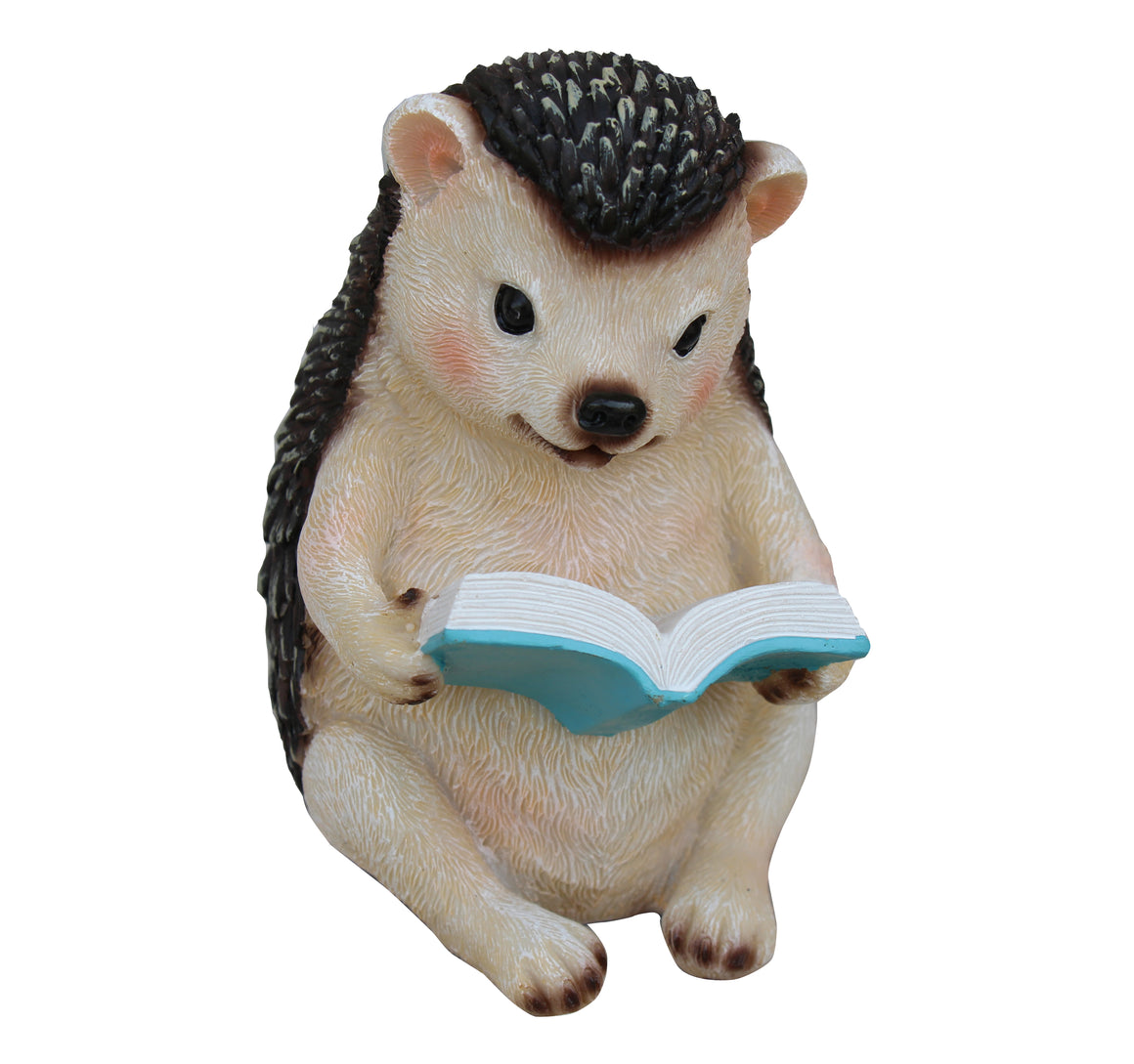 Hedgehog Reading Book Figurine Ornament, Terrace Miniature Statue, Cute Porcupine Figure, Outdoor Decor, Lawn Statue. DM423A