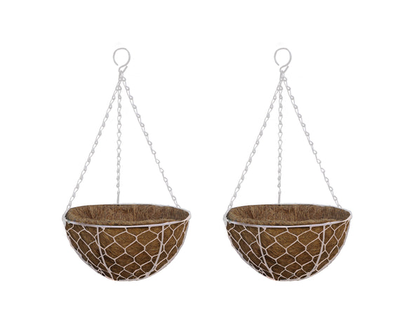 TABOR TOOLS 2-Pack 10'' Metal Hanging Planter Basket with Natural Coconut Coir Liner, Water Saving Hanging Flower Pot, Decor Hanging Basket, Chain and Hook Included (Hen Mesh, White, cc)