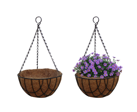 TABOR TOOLS 2-Pack 10'' Metal Hanging Planter Basket with Natural Coconut Coir Liner, Water Saving Hanging Flower Pot, Decor Hanging Basket, Chain and Hook Included (Wire, Black, MT2100A)