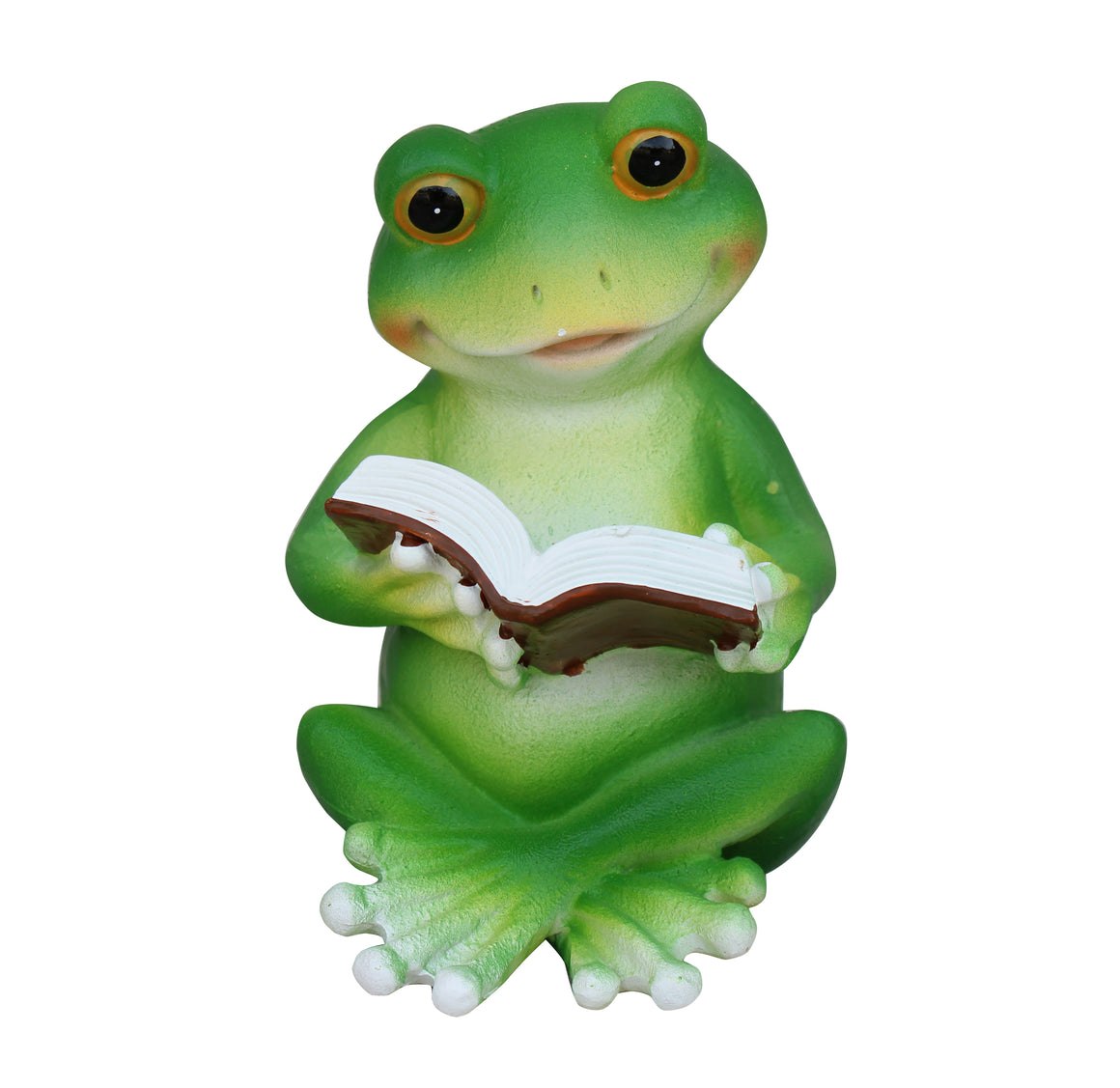 Frog Reading Book Figurine, Terrace Miniature Statue, Cute Toad Ornament, Outdoor Decor, Garden and Lawn Statue. DM425A