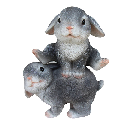 Two Bunnies Playing Figurine, Terrace Miniature Ornament, Cute Rabbit Figures Outdoor Decor, Garden and Lawn Statue. DM406A