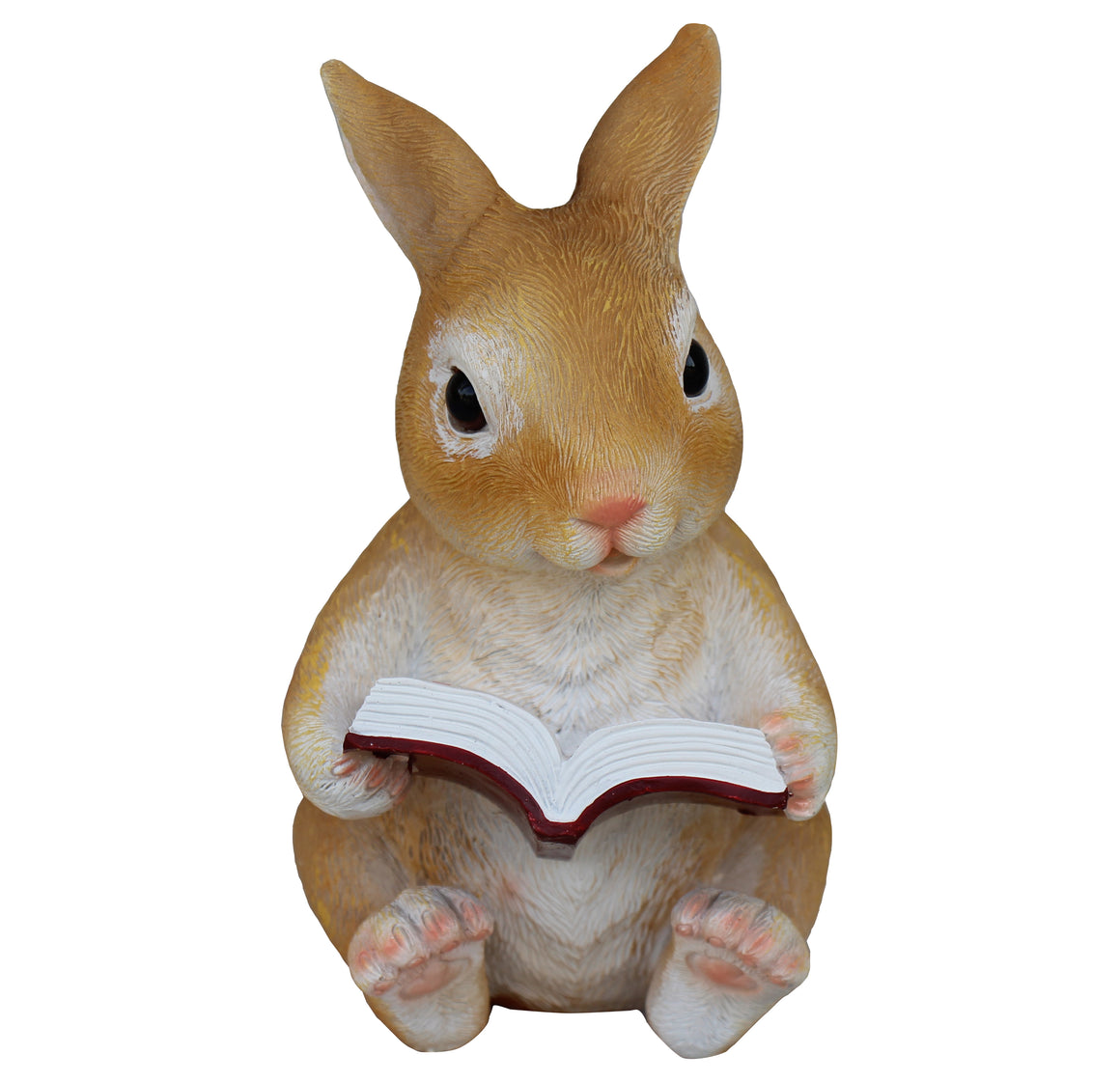 Rabbit Reading Book Figurine, Terrace Miniature Statue, Cute Bunny Ornament, Outdoor Decor, Garden and Lawn Statue. DM424A
