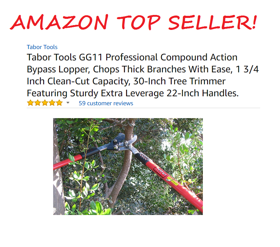 "TABOR TOOLS GG11A Professional 30"" Compound Action Bypass Lopper"