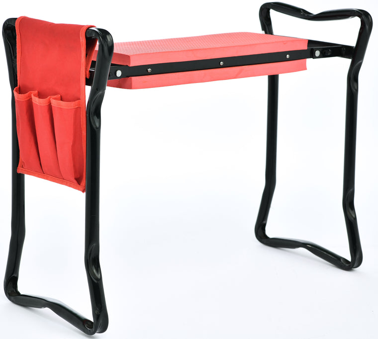 TABOR TOOLS TR2A Garden Kneeler and Seat Bench with Tool Bag Pouch and Foam Pad Cushion, Workseat with Kneeling Bench Option, Light Weight Foldable Stool, Portable Outdoor Kneeler for Gardening.