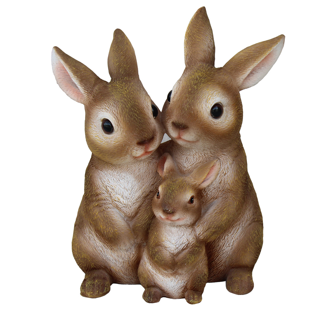 Standing Bunny Family Figurine, Terrace Miniature Statue, Three Cute Rabbits Figure, Outdoor Decor, Garden and Lawn Ornament. DM417A
