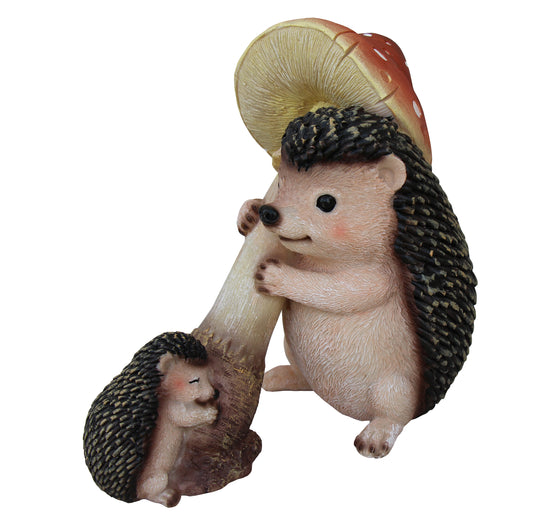 Hedgehogs with Mushroom Ornament, Terrace Statue Figurine, Terrace Miniature Statue, Cute Baby Porcupine Figure, Outdoor Decor, Garden and Lawn Statue. DM408A
