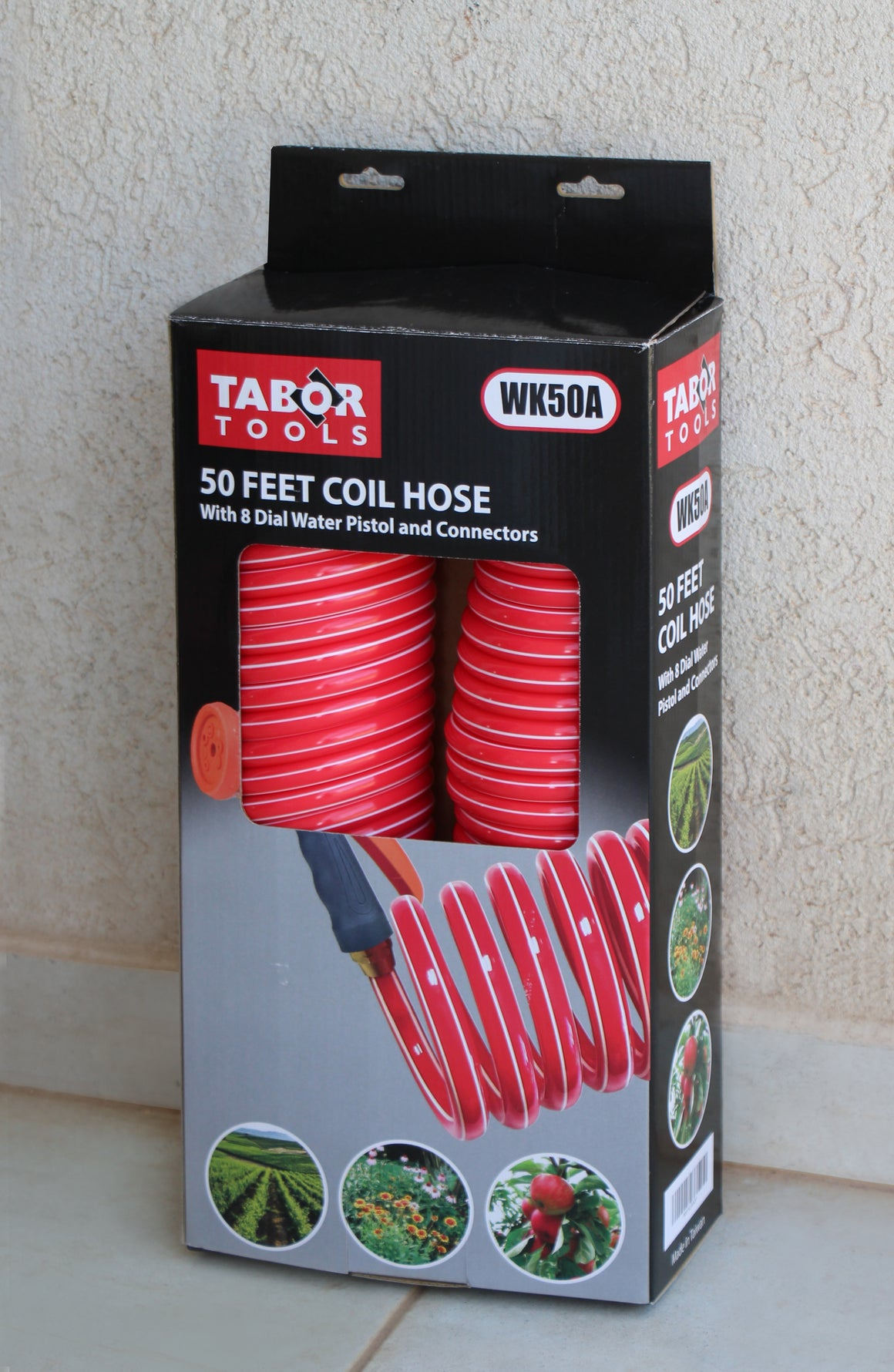"TABOR TOOLS Coil Garden Hose,50 FT Retractable Recoil Watering Hose with 8-Pattern Spray Nozzle, Corrosion Resistant 3/4"" Solid Brass Connectors, Lightweight and Durable WK50A"