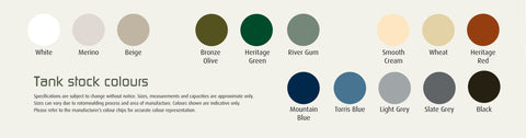Rainwater Tank Colour Chart - Complement your home with a rainwater tank