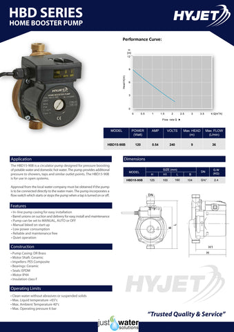 Home Booster Pump Specifications