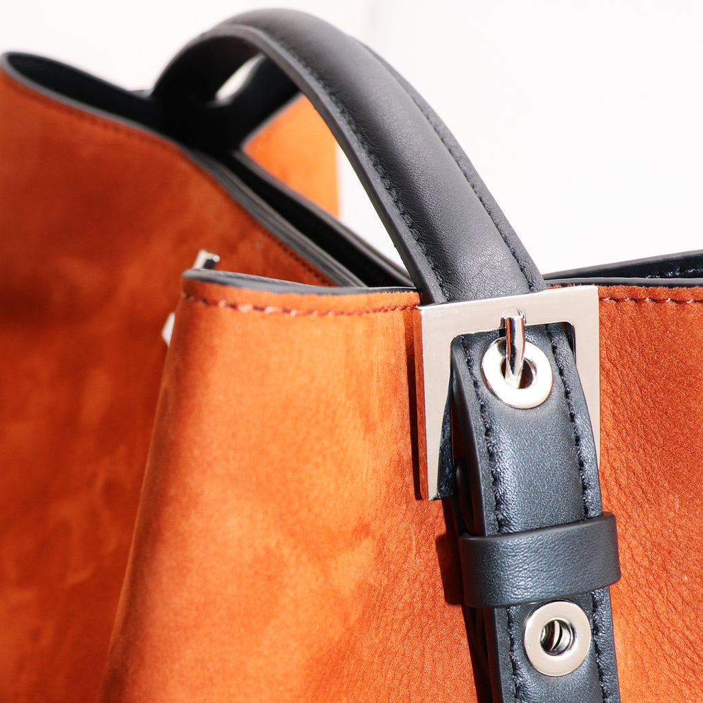 ARANEL RUST NUBUCK LEATHER TOP HANDLE BAG