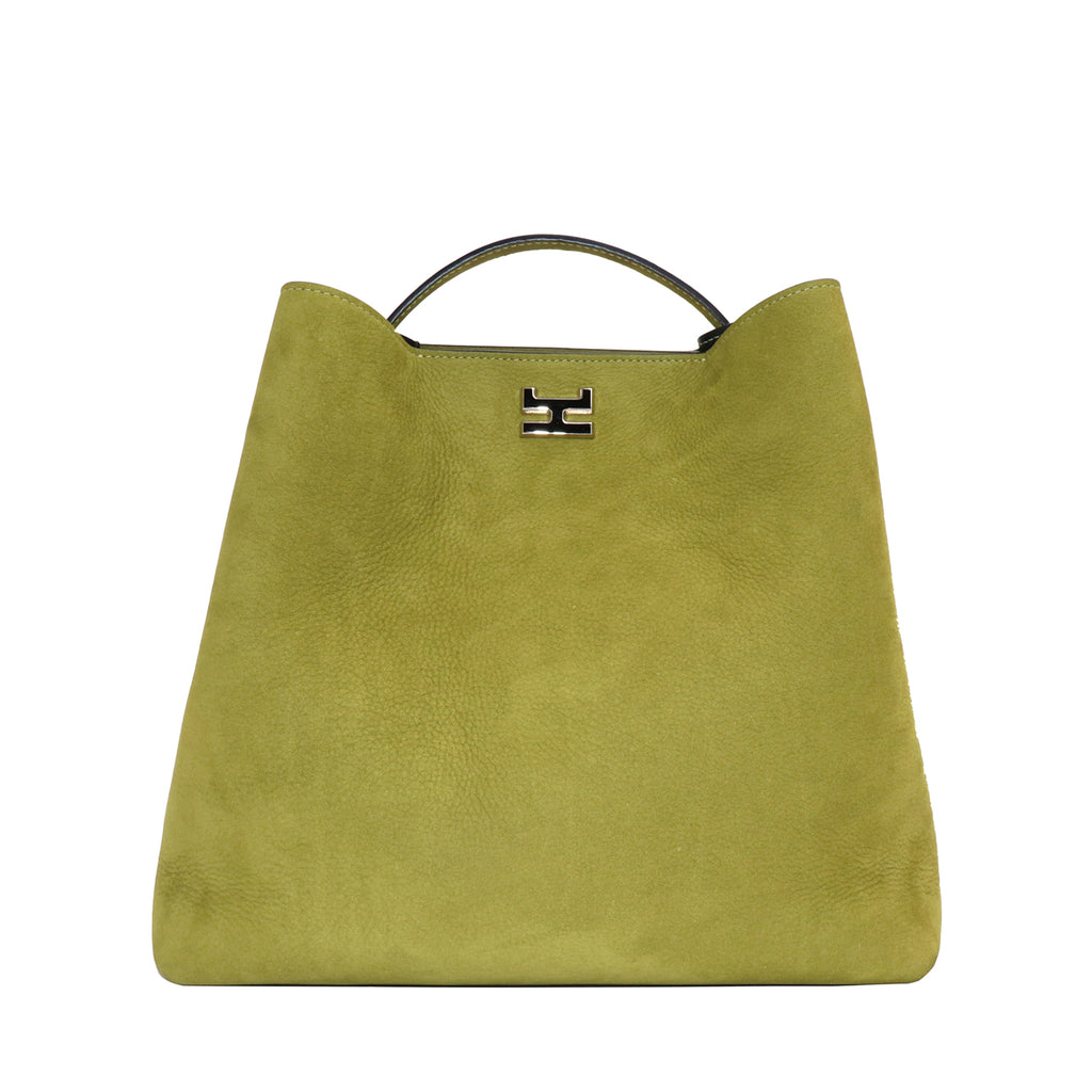 ARANEL GREEN NUBUCK LEATHER TOP HANDLE BAG